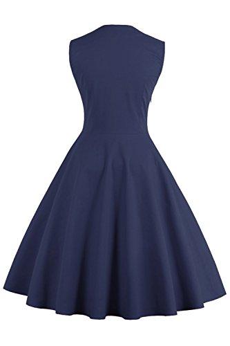 MisShow Damen Kleider 50er Jahre Stil Vintage Polka Dots Knielang Navyblau 4XL - 2