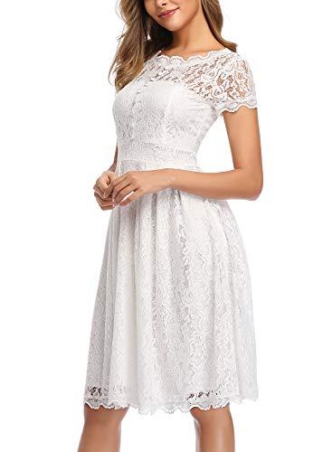 ihot Damen Kleid Brautjungfernkleid Knielang Spitzenkleid Flügelärmeln Cocktailkleid- Gr. XL, Weiß - 4