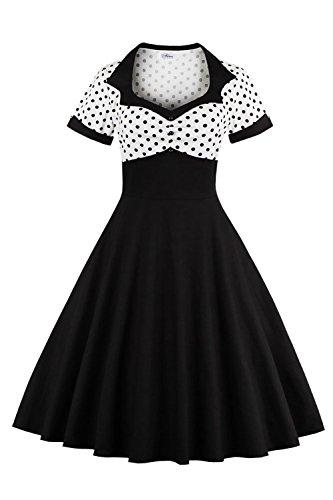 MisShow Damen Vintage 1950s Kurzarm Abendkleid Rockabilly Swing Kleid Polka Dots Petticoat Kleid Weiß 3XL