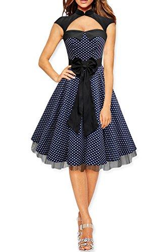BlackButterfly 'Athena' Polka-Dots Kleid mit großer Schleife (Nachtblau, EUR 50-4XL)
