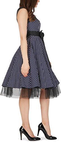 BlackButterfly 'Athena' Polka-Dots Kleid mit großer Schleife (Nachtblau, EUR 50-4XL) - 5