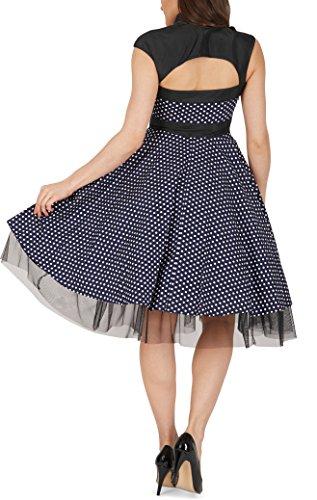 BlackButterfly 'Athena' Polka-Dots Kleid mit großer Schleife (Nachtblau, EUR 50-4XL) - 6