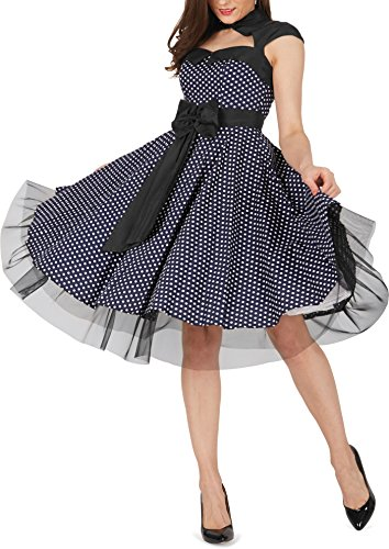 BlackButterfly 'Athena' Polka-Dots Kleid mit großer Schleife (Nachtblau, EUR 50-4XL) - 8
