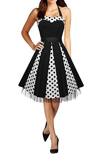 BlackButterfly 'Ivy' 50's Polka-Dots Swingkleid (Schwarze Punkte, EUR 48-3XL)