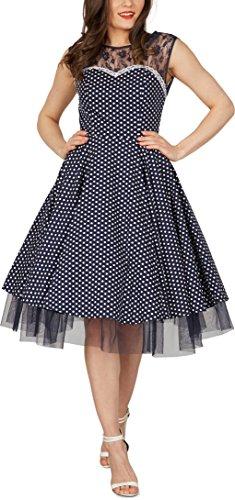 BlackButterfly 'Vivien' Vintage Polka-Dots Kleid im 50er-Jahre-Stil (Nachtblau, EUR 42 - L)