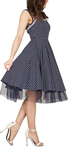 BlackButterfly 'Vivien' Vintage Polka-Dots Kleid im 50er-Jahre-Stil (Nachtblau, EUR 42 - L) - 2