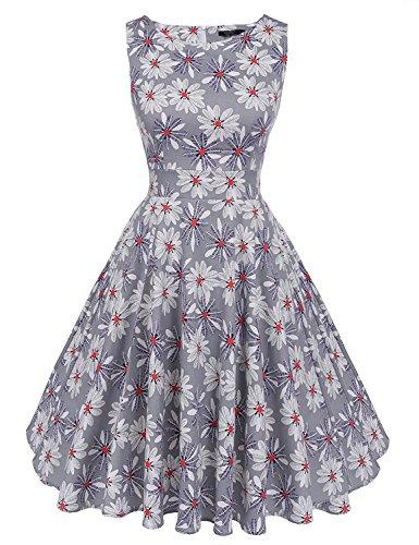 MisShow Damen Festliche Rundausschnitt ärmellos 50s 60er Retro Kleid Vintage Blumenkleid Rockabilly Kleid Partykleider Cocktailkleider Grau Gr.S