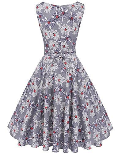 MisShow Damen Festliche Rundausschnitt ärmellos 50s 60er Retro Kleid Vintage Blumenkleid Rockabilly Kleid Partykleider Cocktailkleider Grau Gr.S - 2