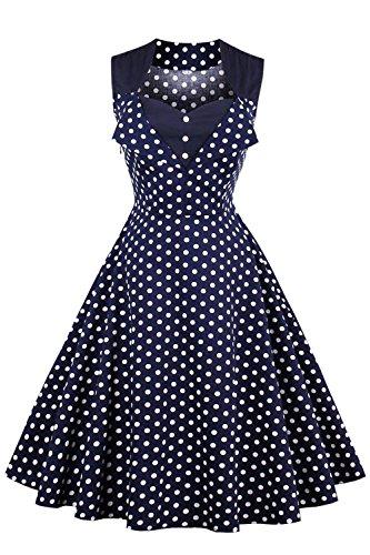 Damen kleider 50er jahre stil Vintage Polka Dots Knielang Navyblau 4XL