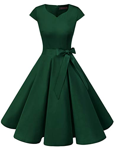 Dresstells Damen 50er Vintage Retro Cap Sleeves Rockabilly Kleider Hepburn Stil Cocktailkleider DarkGreen 2XL