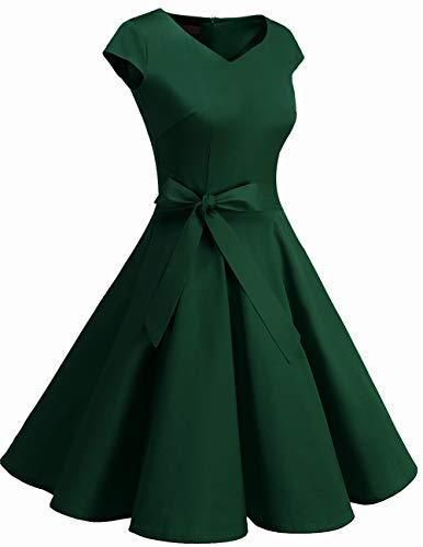 Dresstells Damen 50er Vintage Retro Cap Sleeves Rockabilly Kleider Hepburn Stil Cocktailkleider DarkGreen 2XL - 2