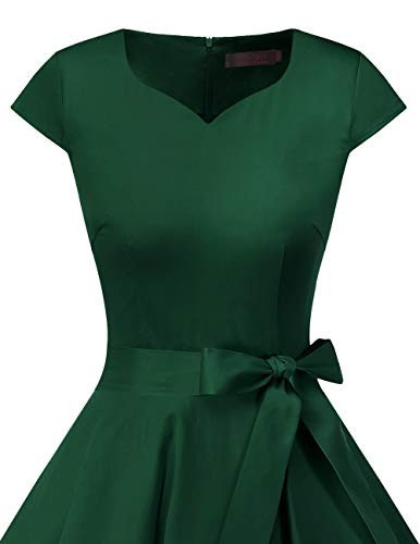 Dresstells Damen 50er Vintage Retro Cap Sleeves Rockabilly Kleider Hepburn Stil Cocktailkleider DarkGreen 2XL - 5