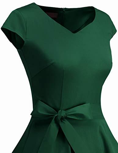 Dresstells Damen 50er Vintage Retro Cap Sleeves Rockabilly Kleider Hepburn Stil Cocktailkleider DarkGreen 2XL - 6