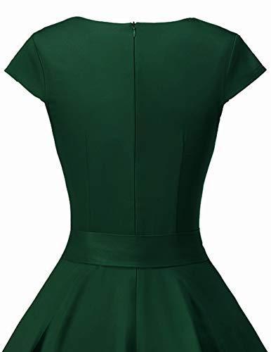 Dresstells Damen 50er Vintage Retro Cap Sleeves Rockabilly Kleider Hepburn Stil Cocktailkleider DarkGreen 2XL - 7