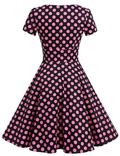 Dresstells Damen Vintage 50er Rockabilly Kurzarm Swing Kleider Partykleid Black Big Pink Dot S - 3