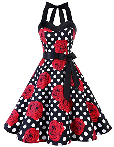 Dresstells Neckholder Rockabilly 1950er Polka Dots Punkte Vintage Retro Cocktailkleid Petticoat Faltenrock Black Red Rose Dot M