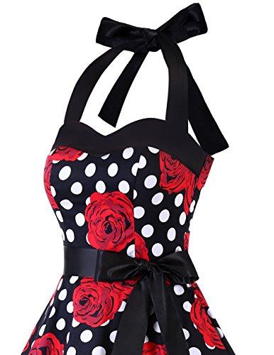Dresstells Neckholder Rockabilly 1950er Polka Dots Punkte Vintage Retro Cocktailkleid Petticoat Faltenrock Black Red Rose Dot M - 6