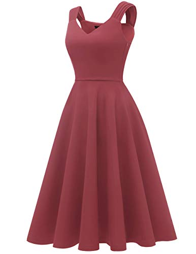 Dresstells Damen 1950er Midi Rockabilly Kleid Vintage V-Ausschnitt Cocktailkleid Faltenrock Raspberry XL - 2