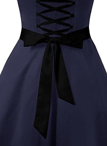 Dresstells Damen Neckholder 1950er Vintage Retro Rockabilly Kleider Petticoat Faltenrock Cocktail Festliche Kleider Navy Black M - 5