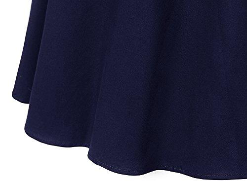 Dresstells Damen Neckholder 1950er Vintage Retro Rockabilly Kleider Petticoat Faltenrock Cocktail Festliche Kleider Navy Black M - 7