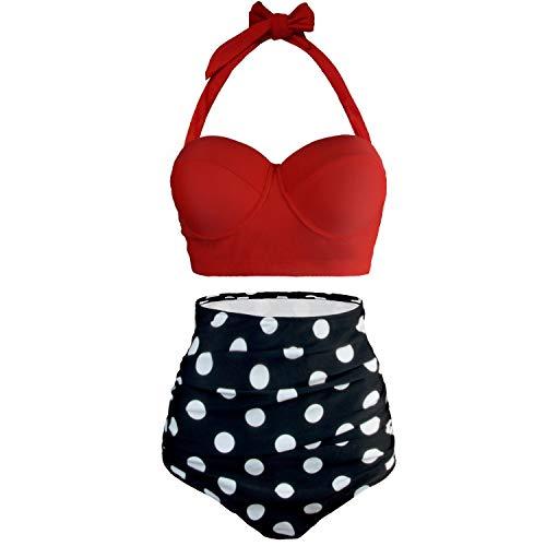 UPhitnis Damen Bikini Set Bademode Retro Stil Blumen Falten Badeanzug, Rot, Gr.- XL